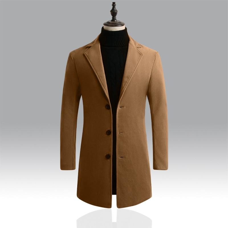 DIHOPE 2020 Men Wool Blends Coats Autumn Winter New Solid Color High Quality Men's Wool Jacket Luxur