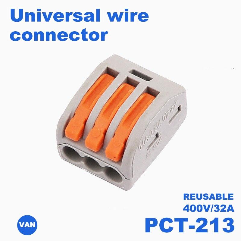 PTC-213 1/10/20/100Pcs Type PTC-212/213/214 Crimp Terminals Fast Wire Connector SPL-2 SPL-3 Terminal Block With Lever
