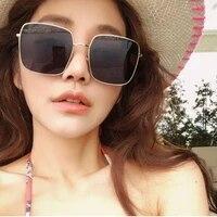 women sunglasses frame vintage oversized square classic ladies metal eyewear de sol