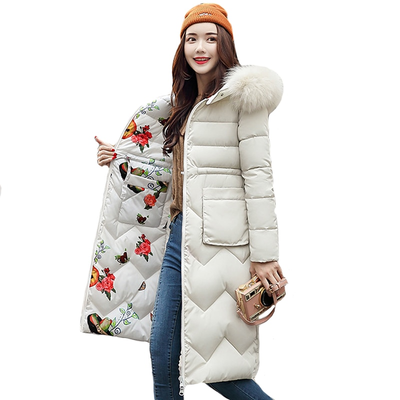 2021 Women Winter Jacket New Arrival With Fur Hooded Long Coat Cotton Padded Warm Parka Womens Parkas