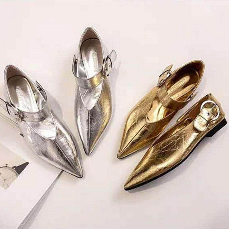Ouro prata patente fivela de couro preguiçoso sapatos mulher mocassins primavera mulher plana único verão v-boca ajustável sapatos avó