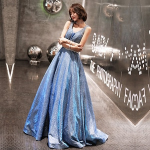 Evening Dress Long For Wedding Party Dress Sexy V-neck A-line Bling Bling Sequin Evening Dresses Prom Dress Host Dress Plus Size