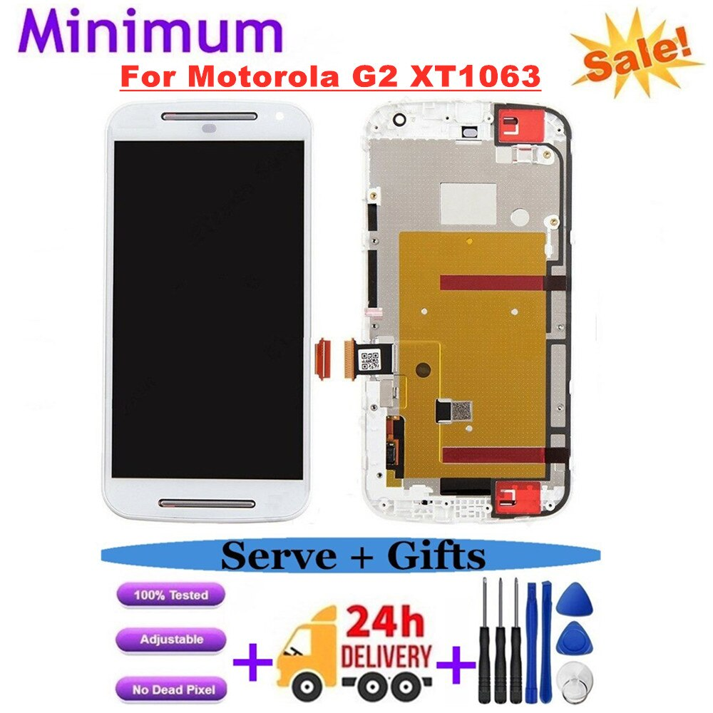 "5,0 ""para Motorola Moto G2 G 2nd Gen XT1063 XT1068 XT1069 LCD pantalla MONTAJE DE digitalizador con pantalla táctil con marco de repuesto LCDs"