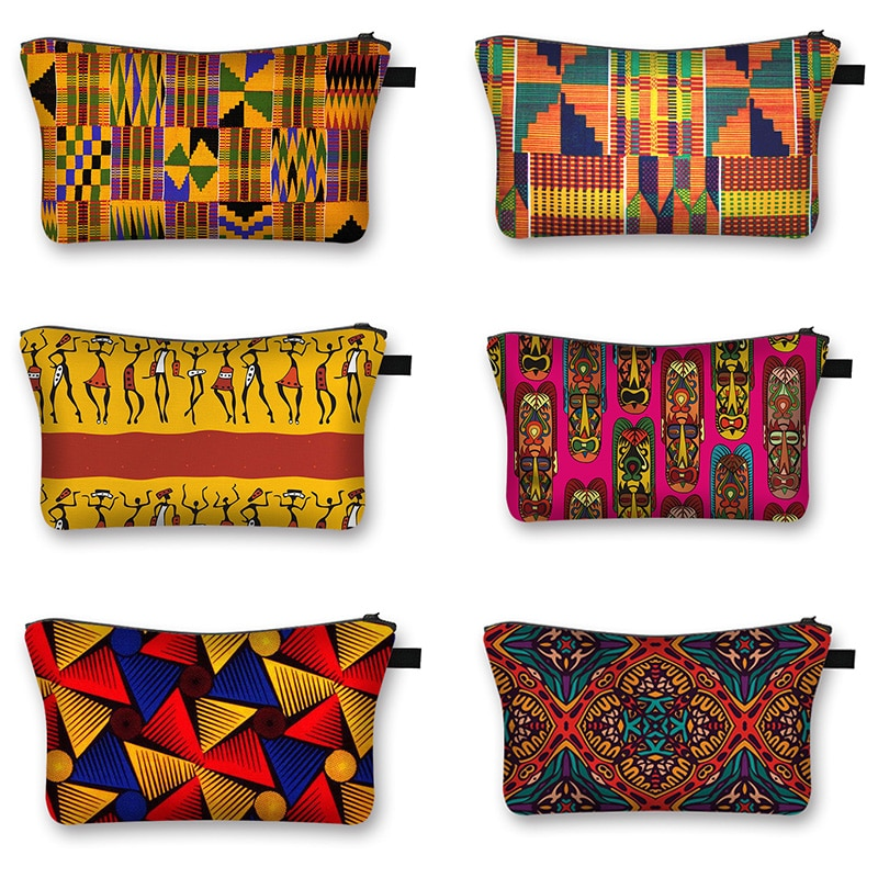 African Woman Print Cosmetic Bag Afro Ladies Makeup Bags Fashion Girls Cosmetic Case Portable Lipsti
