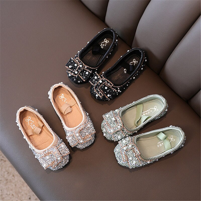 Zapatos de bebé niña princesa arco lentejuelas cuna Zapatos Bebé infantes niños zapatos planos casuales suaves Walkers niñas verano Zapatos tamaño 21-30