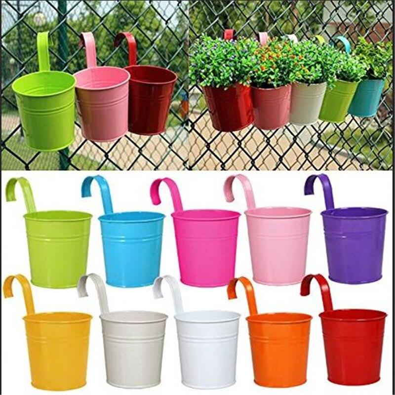 Novo 10 pçs de metal ferro pendurado plantadores varanda jardim planta potes balde vaso flor suportes para parede vaso cerca janela decoração da sua casa