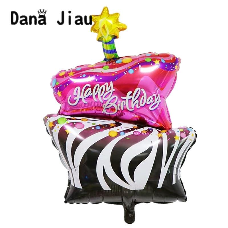 Hochzeit Doppel-deck Glücklich Geburtstag Kuchen Folie Ballon Party Süße Rosa Schokolade Lebensmittel Eis Dekoration Hochzeit Baby Dusche