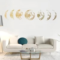 creative moon phase 3d sticker for living room wall decor art mural background decals decor moon stickers
