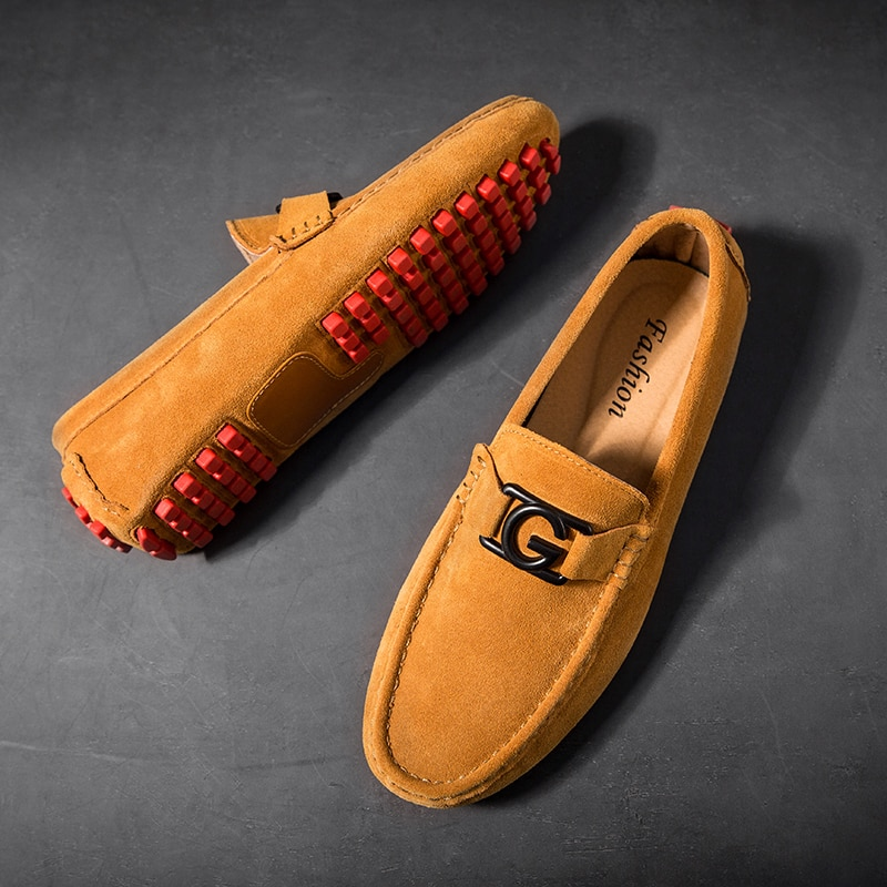 new suede leather with mesh shoe men breathable casual shoes leather flats plus size soft driving men shoes loafers moccasins Mens Loafers Leather Luxury Designer Spring Summer Moccasins Men Loafer Suede Casual Shoes Men Flats Lightweight Driving Shoes