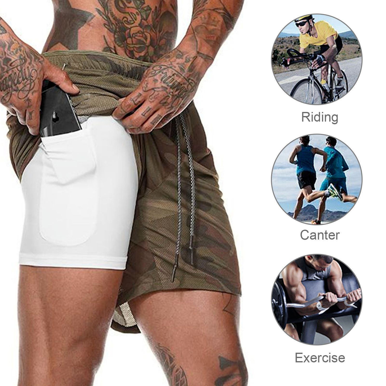 Fitness Shorts Casual Running Breathable Double Shorts Quick-drying Pants 2021 Summer Men's New Pant Style Waist Type Length