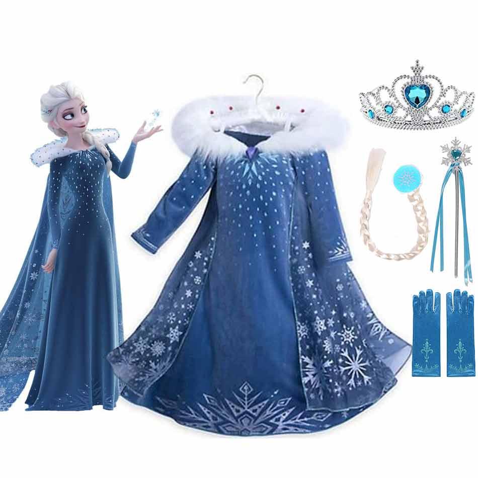 Disney Frozen Elsa Dress Girls Party Vestidos Cosplay Girl Clothing Snow Queen Elza Sequins Birthday Princess Dress Kids Costume