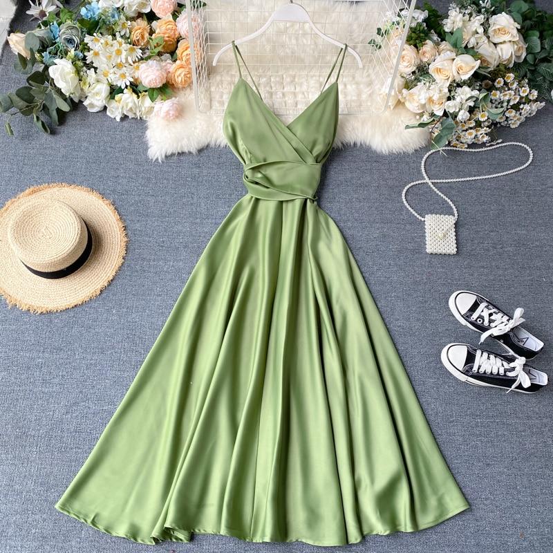 Boho Slim V Neck Summer bandage backless Maxi Long Dress Women Casual spaghetti strap Party Beach Holiday elegant tunic dress