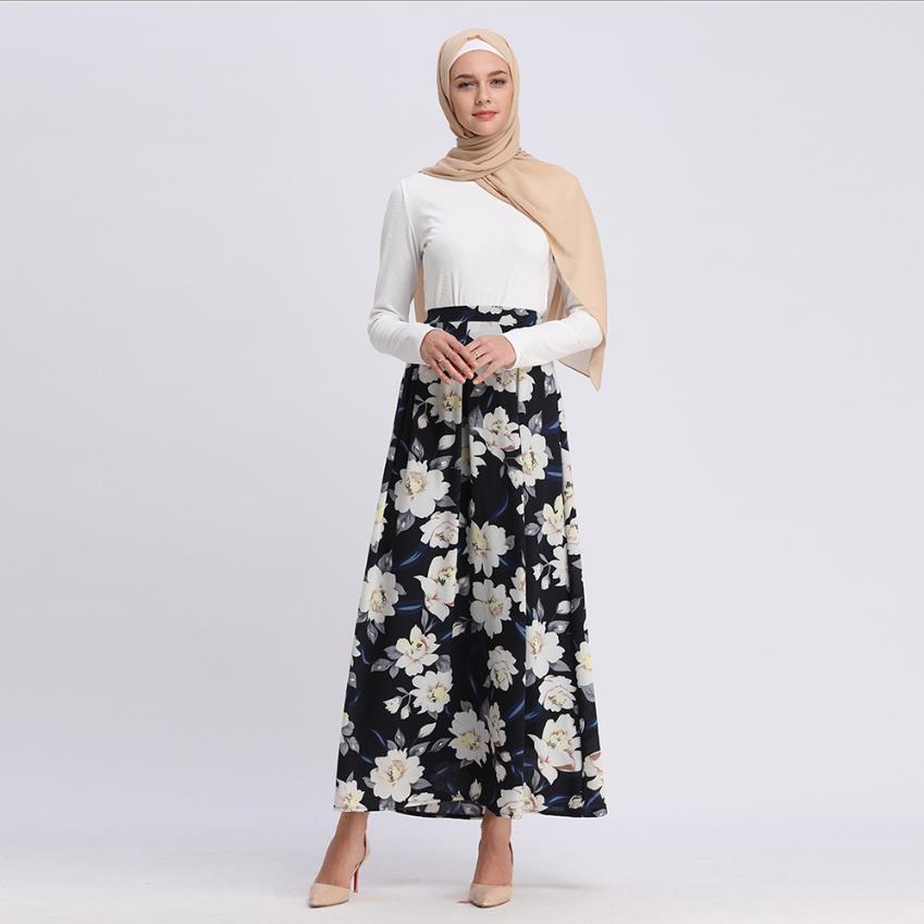 Plus size moda flores impresso saia muçulmana princesa feminina saia impressa elegante saia islâmica saias de assoalho muçulmano wj2497