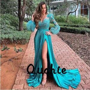 Ruched High Slit Puff Sleeves Evening Dresses V Neck Sexy Illusion robe soiree Islamic Dubai Kaftan Saudi Arabic Prom Gown