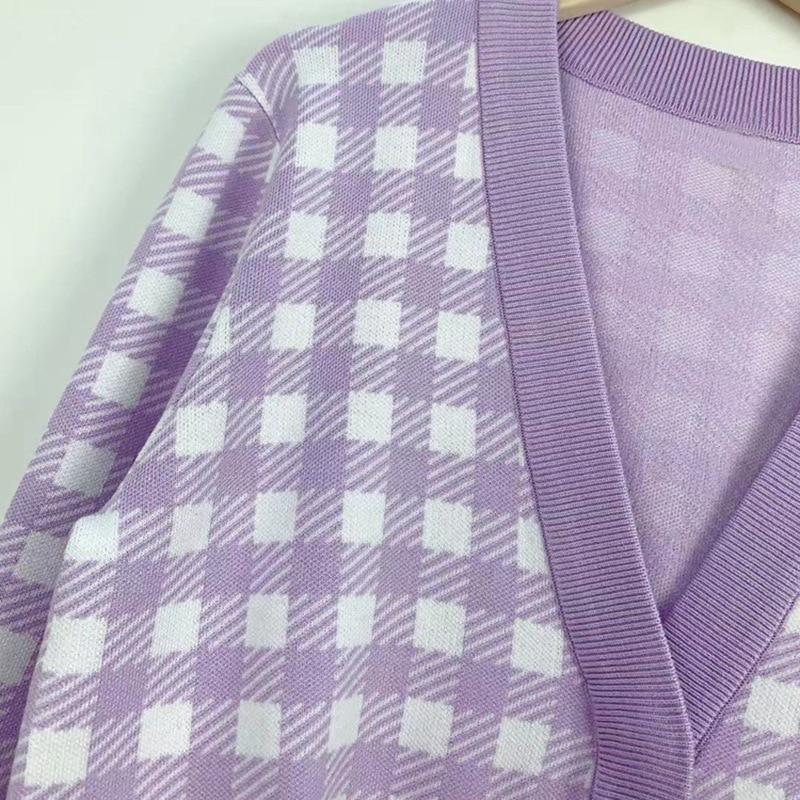Gezelligheid 2021 Spring Summer Runway Fashion Elegant Casual Houndstooth V-Neck Loose Knitted Slim Cardigan Jacket Sweater Tops enlarge