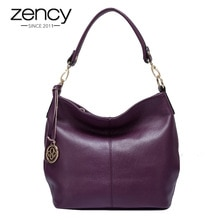 Zency Luxury Purple Women Shoulder Bag 100% Genuine Leather Tote Handbag Black Fashion Lady Crossbody Messenger Purse Hobos
