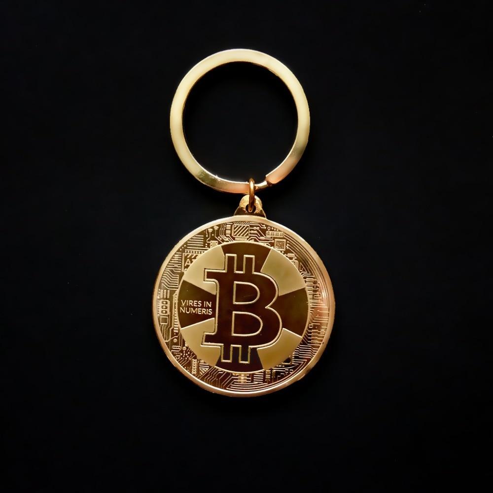 Llavero chapado en oro con moneda de Bitcoin, llavero conmemorativo de Litecoin Ethereum, monedero, bolso para coche, llavero, regalo de joyería