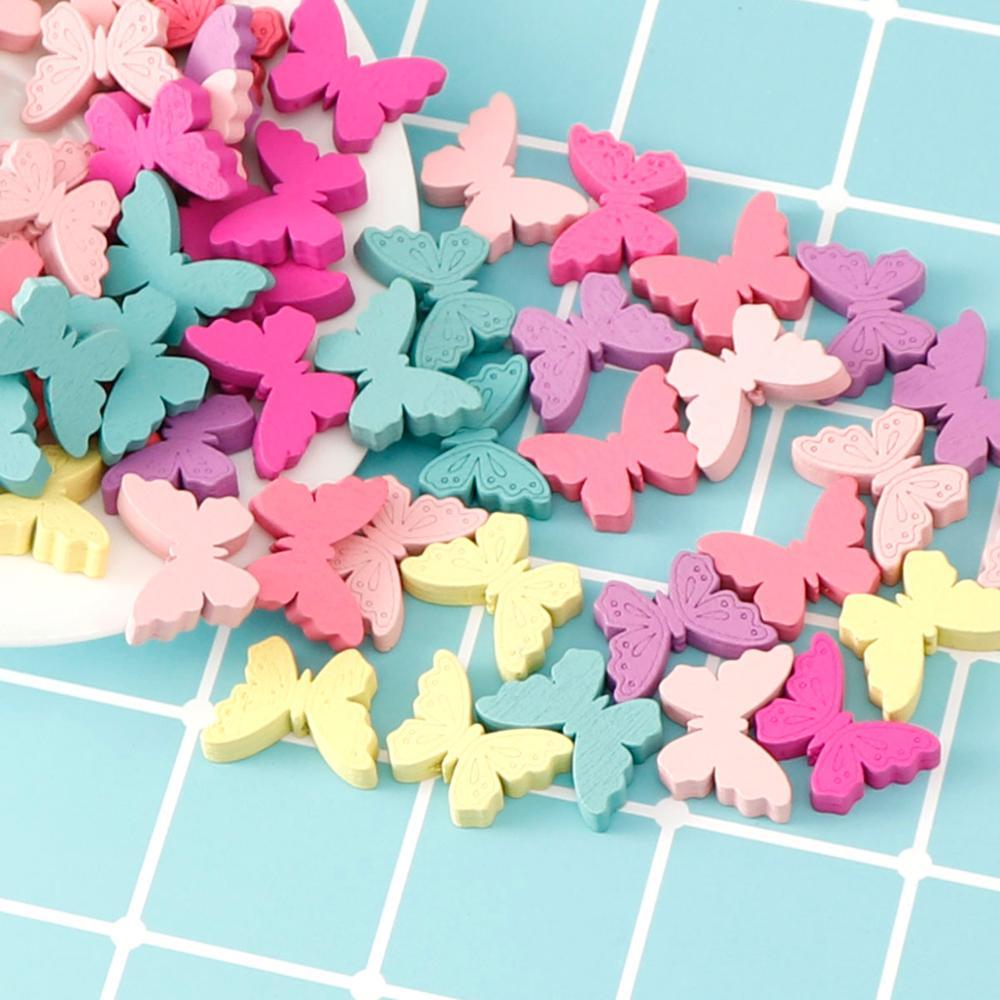 25 stuks Vlinder Houten Kralen Multicolor Kleuterschool Creatieve Puzzel 3D Hout Kralen Voor DIY Kinderen Ketting Armband Sieraden
