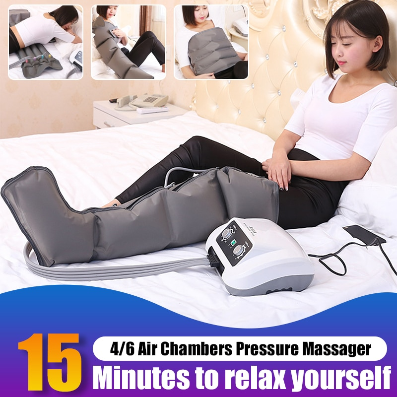 6/4 cámaras de aire masajeador de compresión de piernas bomba de vibración terapia brazo cintura neumática envolturas de aire relajación alivio de dolor masaje US Plug