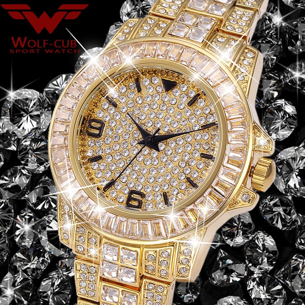 Women's birthday Watches Baguette Diamond Watch Luxury Brand 18K Gold 3BAR Waterproof Quartz Wristwatch WOLF-CUB enlarge