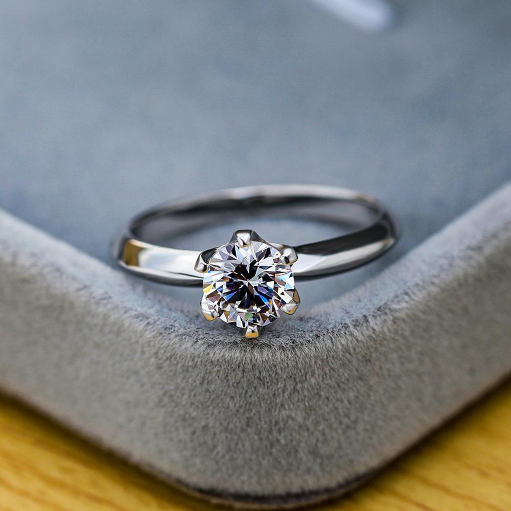 Anillo de piedra de diamante de laboratorio 3CT anillo de compromiso de novia Simple para mujeres 100% Real 925 anillo de plata de ley regalo de joyería