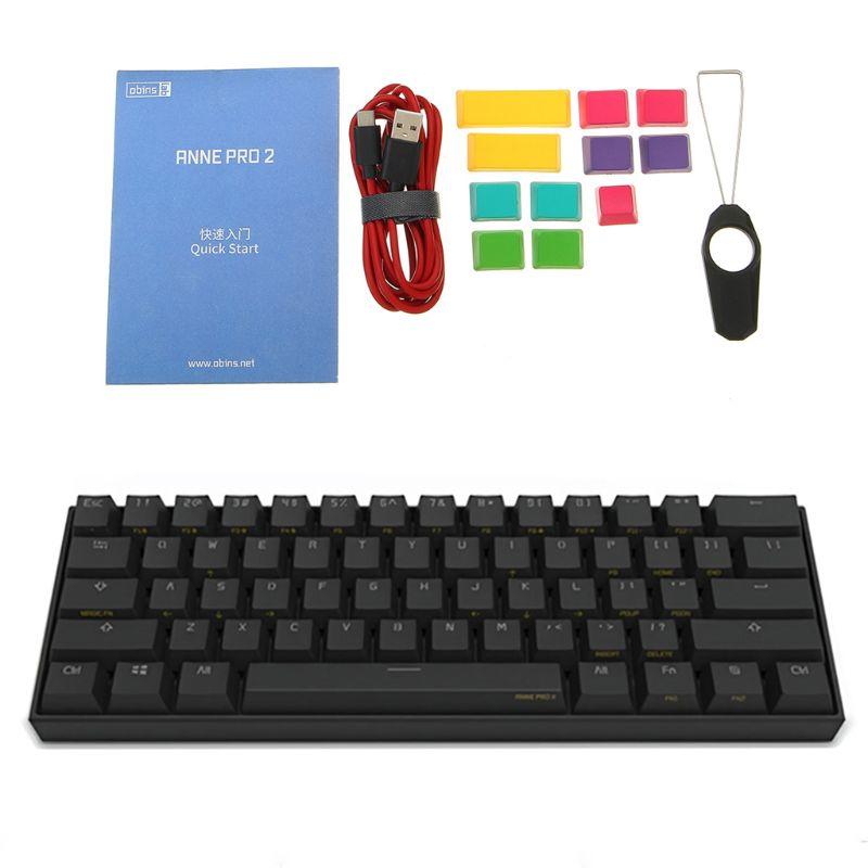Anne Pro 2 клавиатура Bluetooth 4,0 Type-C RGB 61 клавиши Механическая игровая клавиатура переключатель вишня переключатель Gateron переключатель Kailh