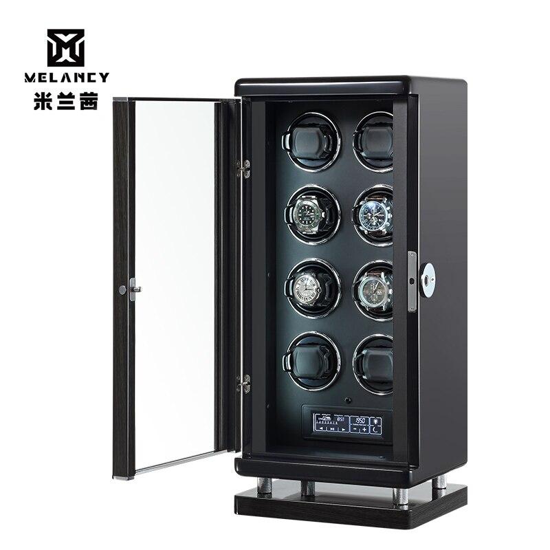 Au/ue/eua/reino unido dobadoura relógio automático única cabeça para 8 relógios preto durável cinco modos caixa de armazenamento