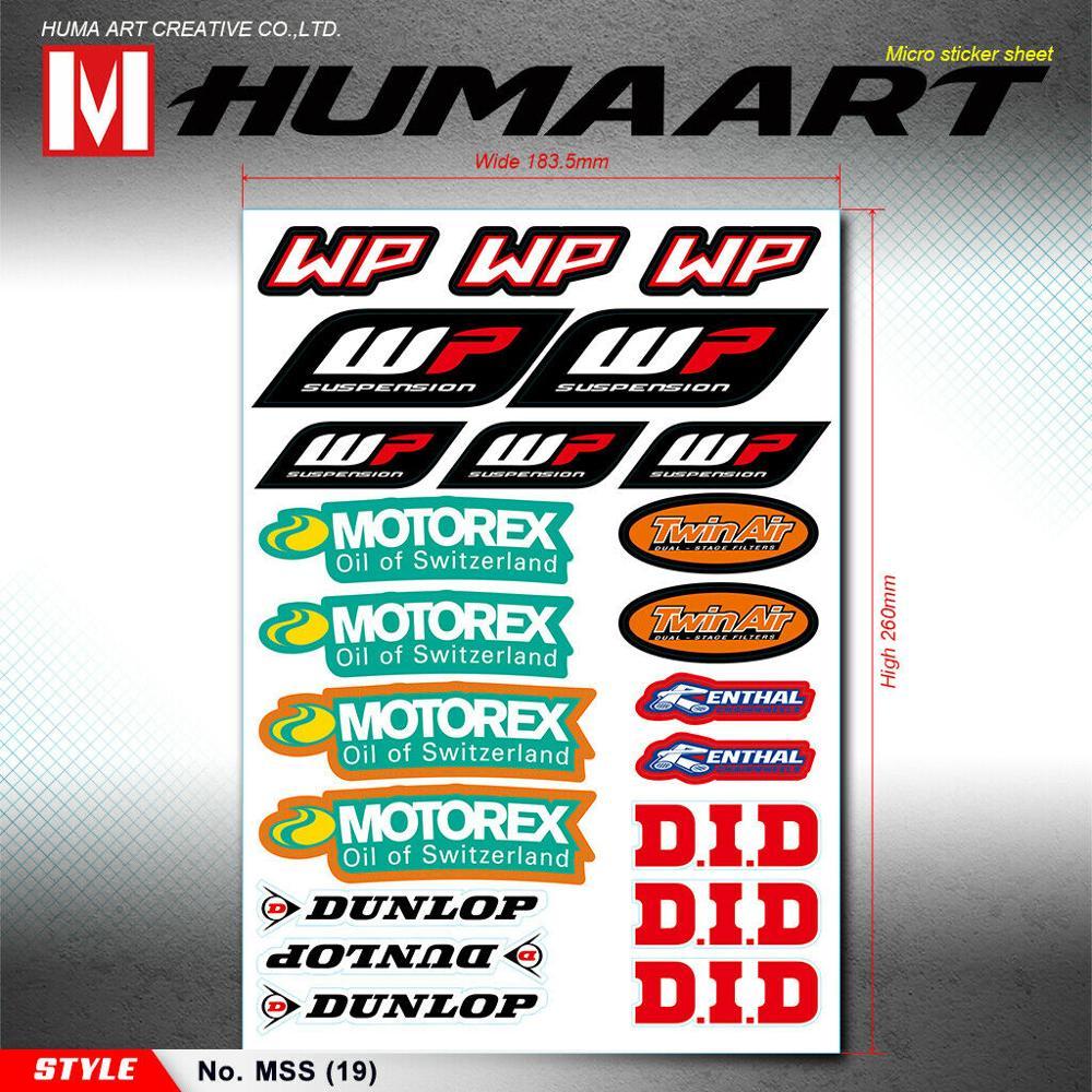 Humaart moto patrocinador adesivos de vinil gráficos decalque para wp motorex bicicleta da sujeira frente garfo deco motocross motocicleta atv quad