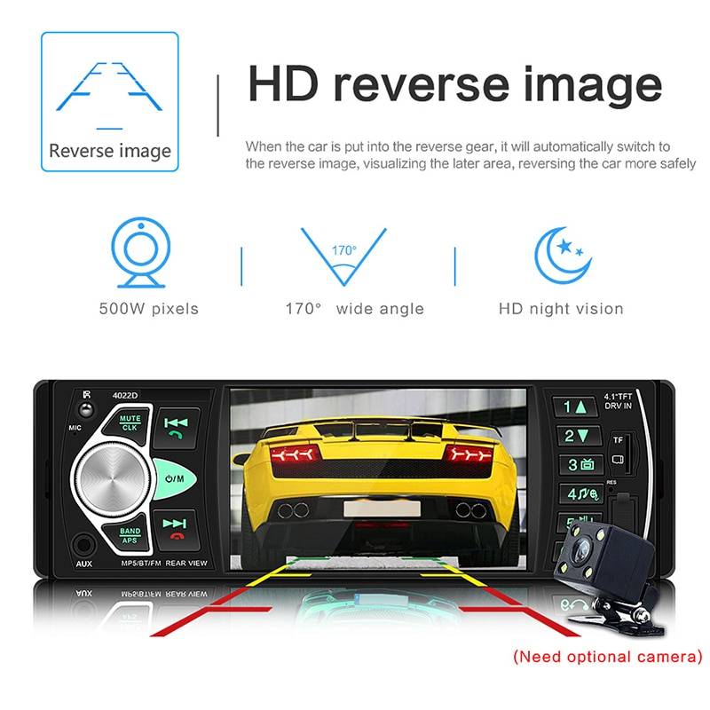 "4.1"" 1 Din Car Radio Audio Stereo USB AUX FM Audio Player Radio Station with Remote Control Car Audio enlarge"