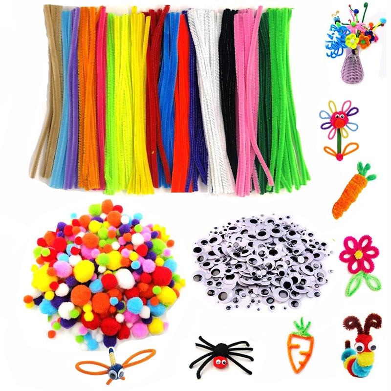500pcs Plush Stems Balls Eyes DIY Art Craft Toys Plush Stick Pompoms Rainbow Colors Shilly-Stick Edu