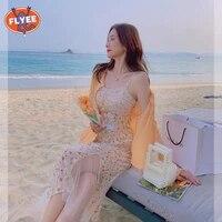 elegant vintage strap chic dress for women floral lace midi dresses female beach party one piece dress korean style 2021 summer