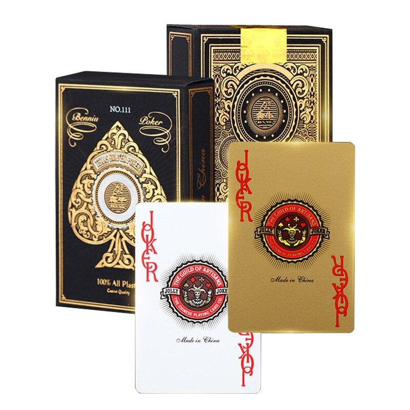 Tablero de juegos de azar de alto grado Golden PVC plástico Bridge Poker Frosting Baccarat chapado en oro naipes Texas Holdem 58*88mm
