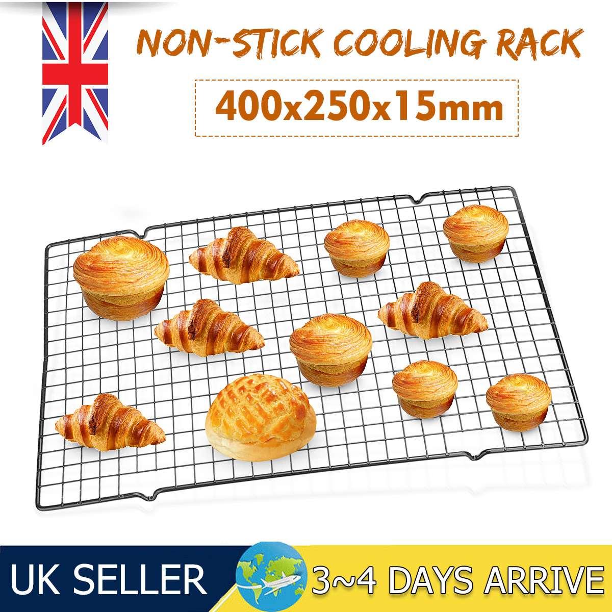 Rejilla de alambre de 400x250x15mm bandeja de enfriamiento estante para pastel estante para comida horno cocina hornear Pizza pan barbacoa galleta soporte estante