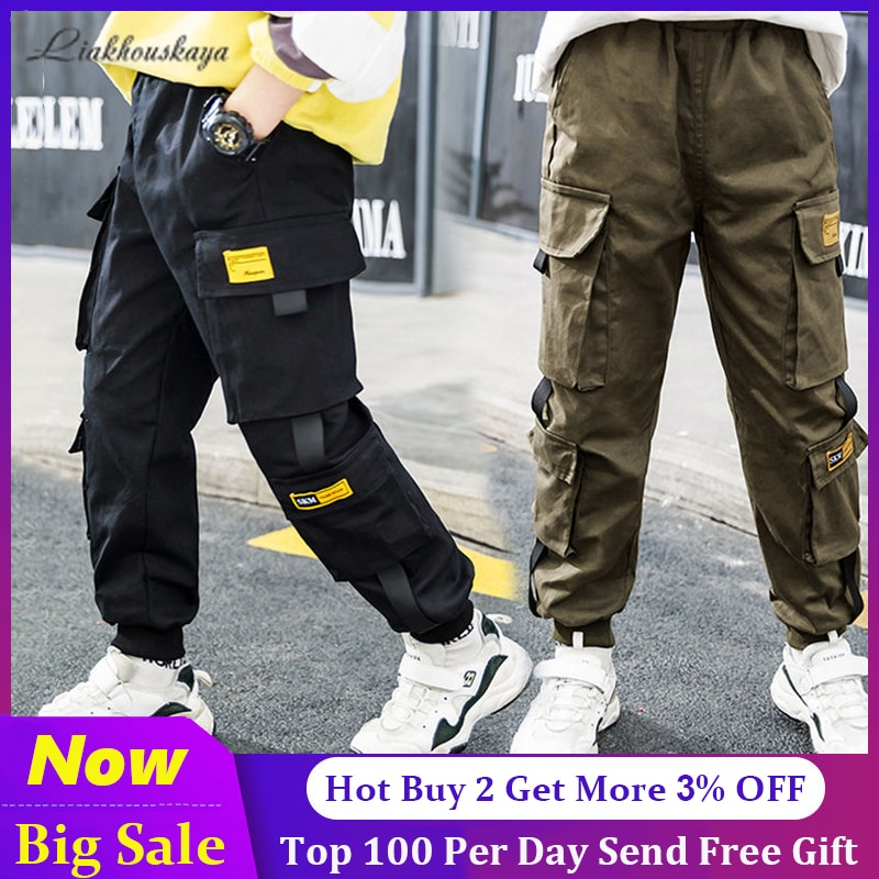 Newest Spring Brand Kids Boys Pants Cotton Solid Cargo Pants Teenage Boy Multi-Pocket Trousers Casual Pants Streetwear 4-15 Year