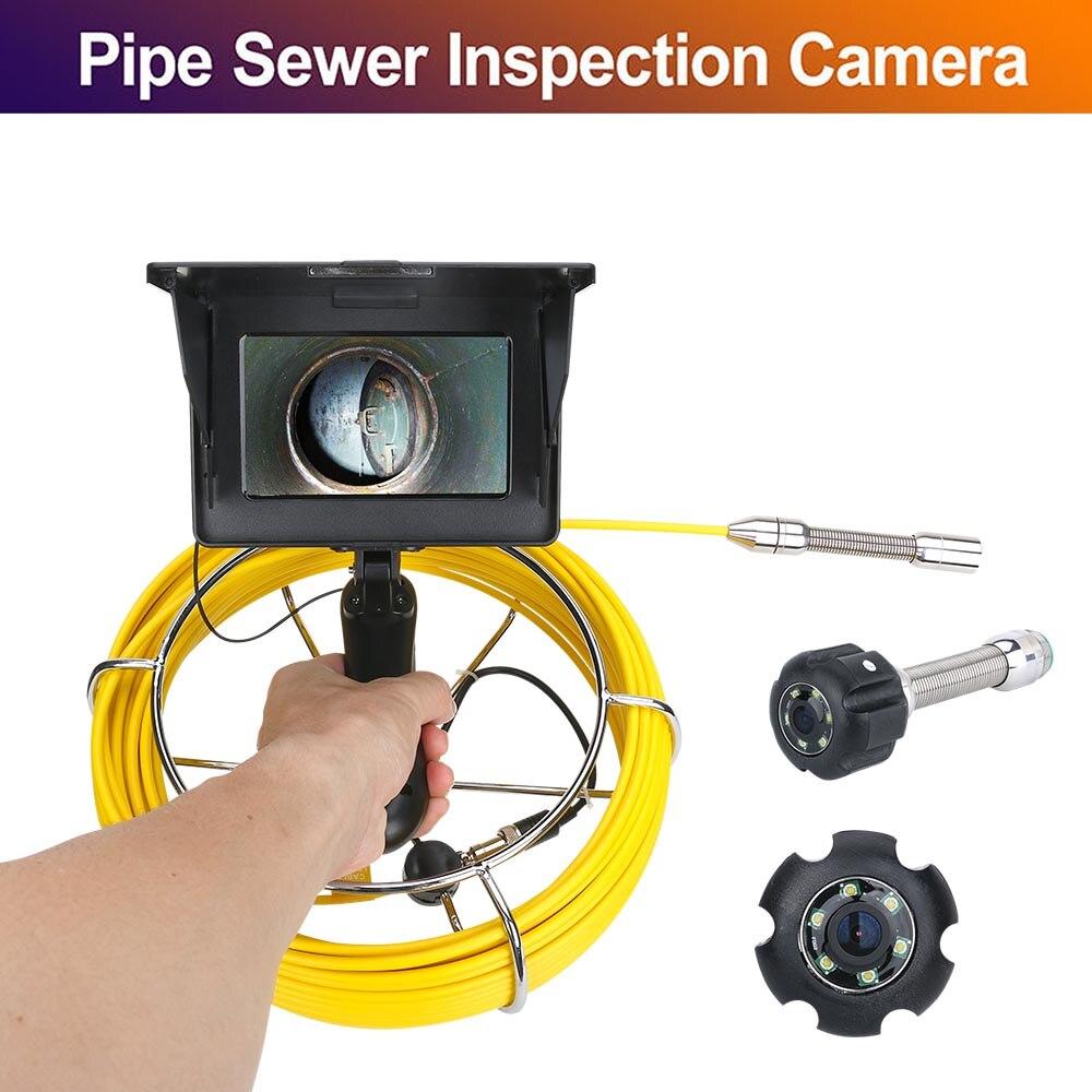 5 pulgadas 17mm de tubería Industrial alcantarilla cámara de Video de inspección IP68 impermeable 1200 TVL cámara con 8 Uds luces LED