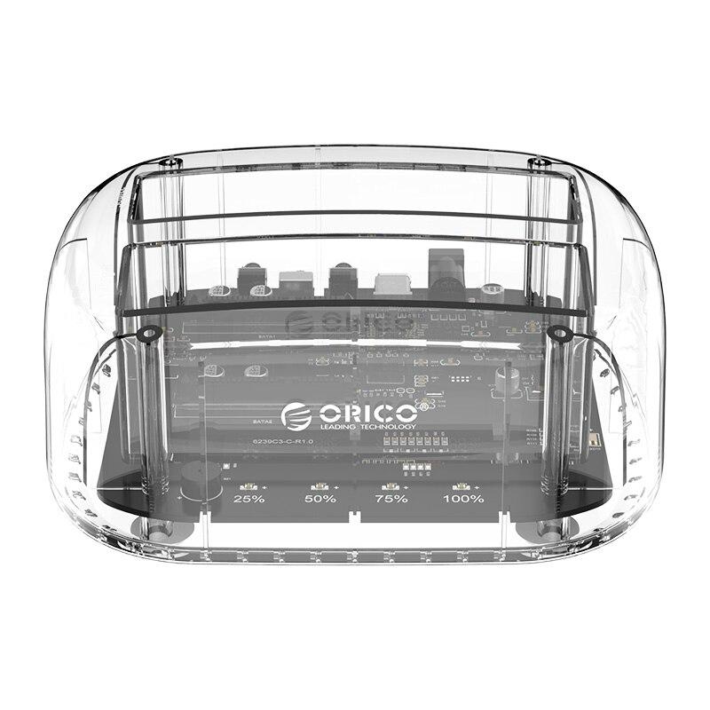 ORICO 6239U3 2.5/3.5 بوصة 2 خليج حاوية القرص الصلب الشفاف, USB3.0 Suppot UASP 24 تيرا بايت HDD محطة الإرساء مع محول