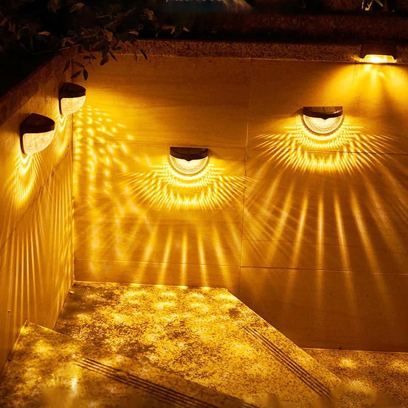 LED Solar Light Outdoor Wall Lamps Fence Panel Lamp outdoor Energy Garden Lamps Waterproof Solar Lamp Garden Decoration Light