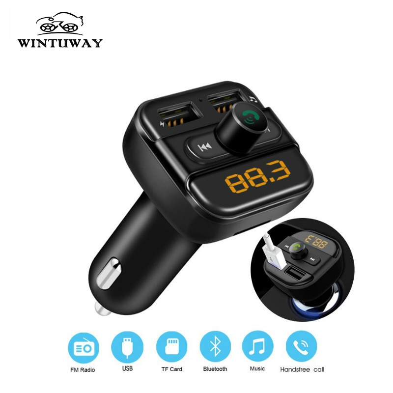 WINTUWAY Bluetooth transmisor FM adaptador de Radio modulador Kit de coche 2 puertos USB cargador de Audio MP3 transmisor de pago manos libres