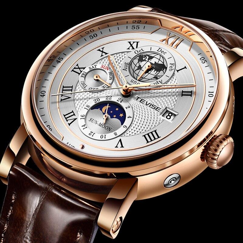 TEVISE Automatic Mechanical Men Watches Leather Waterproof Date Week Fashion Classic Luxury Wrist Wa