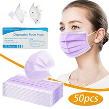 50pcs Good Quality Disposable 3-ply Breathable Face Ma Sk For Lips Care Ear Loops Disposable Msk Tre