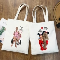 matching family outfits super mom and daughter print canvas shopping bag student friend reusable shopper bag women travel bags