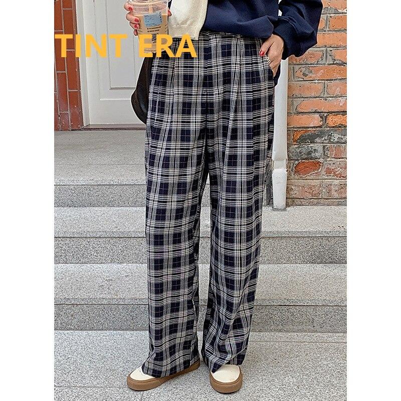 تينت ERA 2021 خريف جديد عصري اليابانية الكورية عالية الخصر مستقيم واسعة الساق بنطلون شبكة سراويل تقليدية النساء بنطلونات فام Y2K