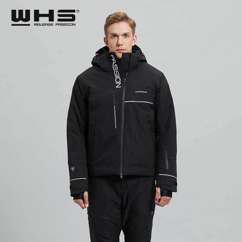 WHS New Men's Ski Jacket Thermal Fashion Color Matching Windproof Waterproof Outdoor Sports Wear Cotton