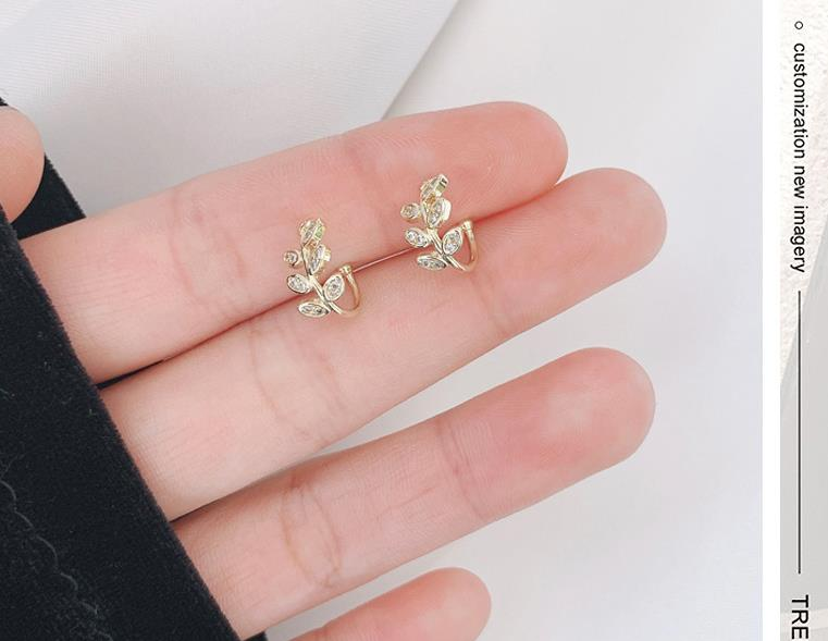 Anting-anting klip daun emas fesyen untuk perhiasan wanita manset - Perhiasan fesyen - Foto 3