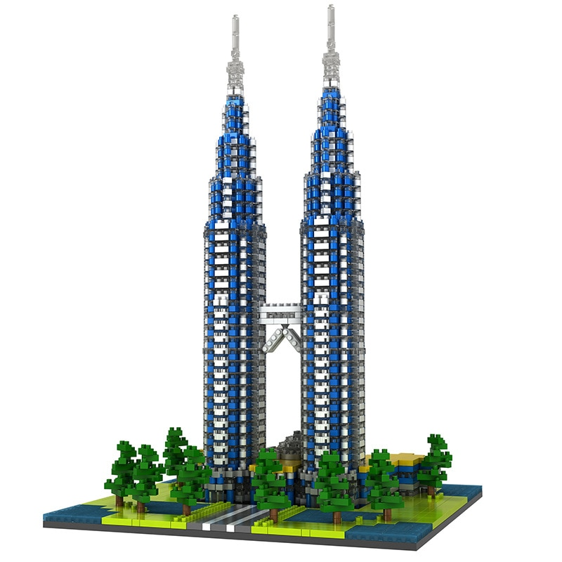 Petronas twin towers diamante mini bloco de construção cidade do mundo famosa arquitetura modelo coleção mirco tijolo brinquedos com 2390 peças