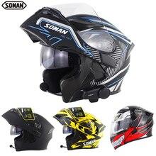 SOMAN-casque de Moto noir   Bluetooth, visière rabattable, double objectif, Casco Moto, Cool, casque intégral de Moto SM955