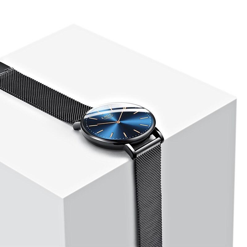 LIGE Super Slim Black Blue Mesh Stainless Steel Watches Women Top Brand Luxury Casual Clock Ladies Wrist Watch Lady Reloj Mujer enlarge