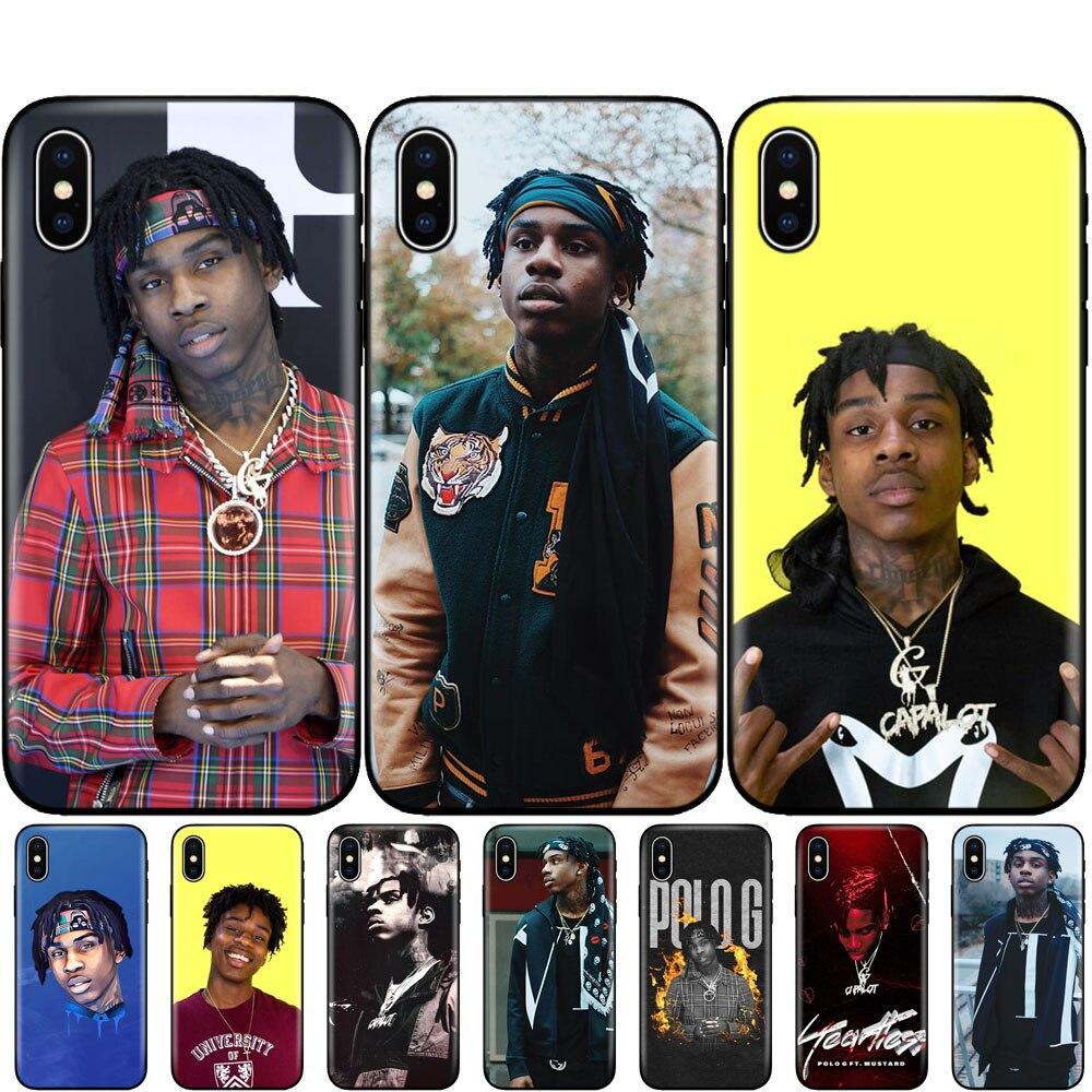 Capa tpu preta para iphone 5 5S se 6s 7 8 plus x 10 silicone capa para iphone xr xs 11 pro max caso polo g rapper