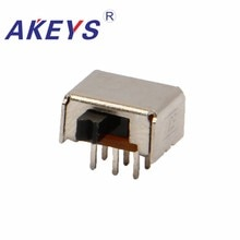 10PCS SK-22D07 2P2T Double pole double throw slide switch side insert 6 pin for hair care electrical