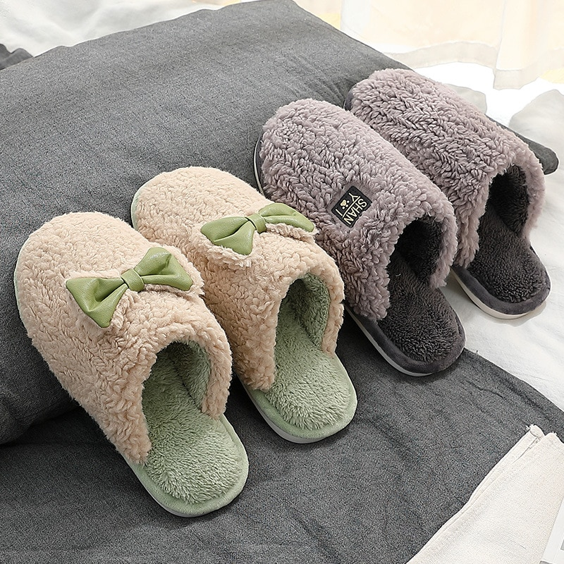 2020 Warm Men Shoes Winter Men Cotton Home Slippers Indoor Bedroom Floor Shoes Furry Male Unisex Household Couple Plush Slippers
